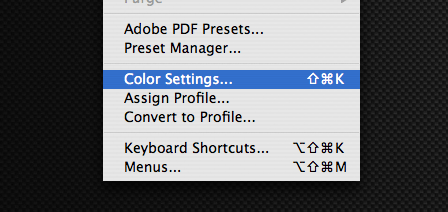 Edit, Color Settings in Photoshop